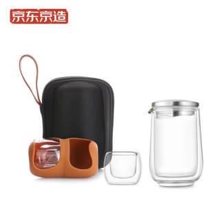 京东PLUS会员:京造 便携旅行功夫茶具套装 一壶二杯玻璃泡茶壶 148.9元