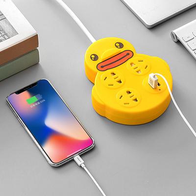 带线安全门卡通黄小鸭创意排插家用多功能插座USB宿舍插座转换器 券后19.9元