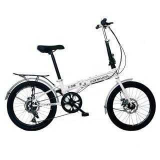 永久20吋折叠自行车前后碟刹加装货架版变速折叠车 C018型白色 508元