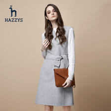 Hazzys哈吉斯早秋新款连衣裙女士秋季裙子无袖气质修身羊毛女裙 2294元