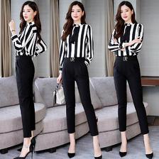¥168 2019初秋小脚裤套装女神范洋气时尚减龄显瘦衬衫气质高腰裤两件套