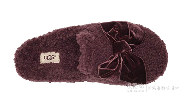 折合367.43元 UGG Addison Velvet Bow Slipper 保暖拖鞋