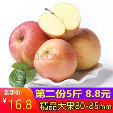 陕西红富士苹果 5斤 果径80-85mm 净重8.8-9斤 *2件 25.6元包邮