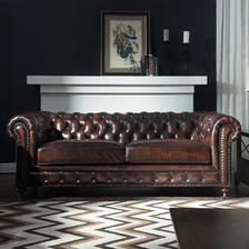 优梵艺术LUX美式真皮沙发组合复古客厅皮艺拉扣别墅u型进口油蜡皮 7477元