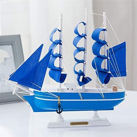 一帆风顺帆船实木手工欧式地中海房间酒柜装饰品家居帆船模型摆件工艺摆设 (蓝布V款(14cm船), 24CM) 59元