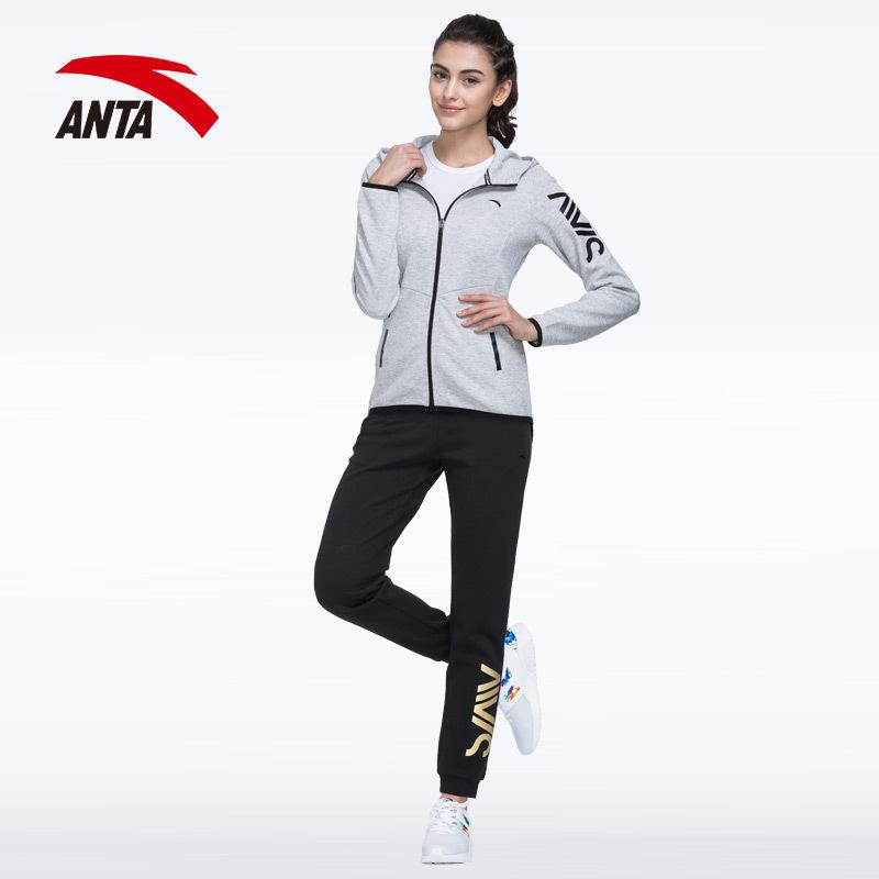 安踏运动套装女士2019春季新款时尚休闲针织两件套连帽跑步服装 248元