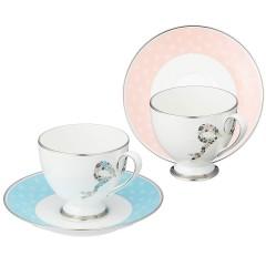 【中亚prime会员】NARUMI 鸣海 Felicita系列 双人骨瓷咖啡杯碟套装
