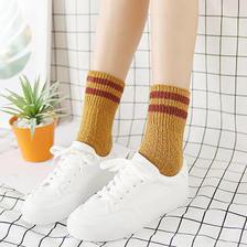 29元 【三双装】秋冬加厚保暖羊毛袜混纺翻边两二条杠女士粗线堆堆袜子中