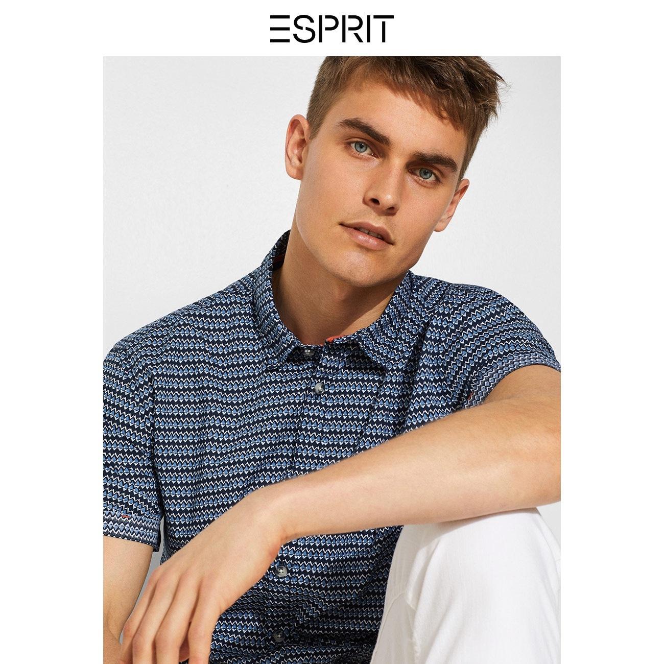 ESPRIT衬衫男短袖商务潮流纯棉男士衬衫夏季新款EDC059CC2F002 99元