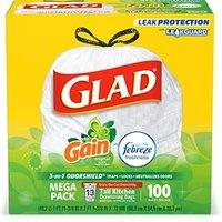 $11.88 包邮 Glad 除味厨房用垃圾袋 100个 13加仑容量