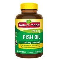 $5.99 包邮Nature Made 鱼油胶囊 1200 mg 100粒 新包装