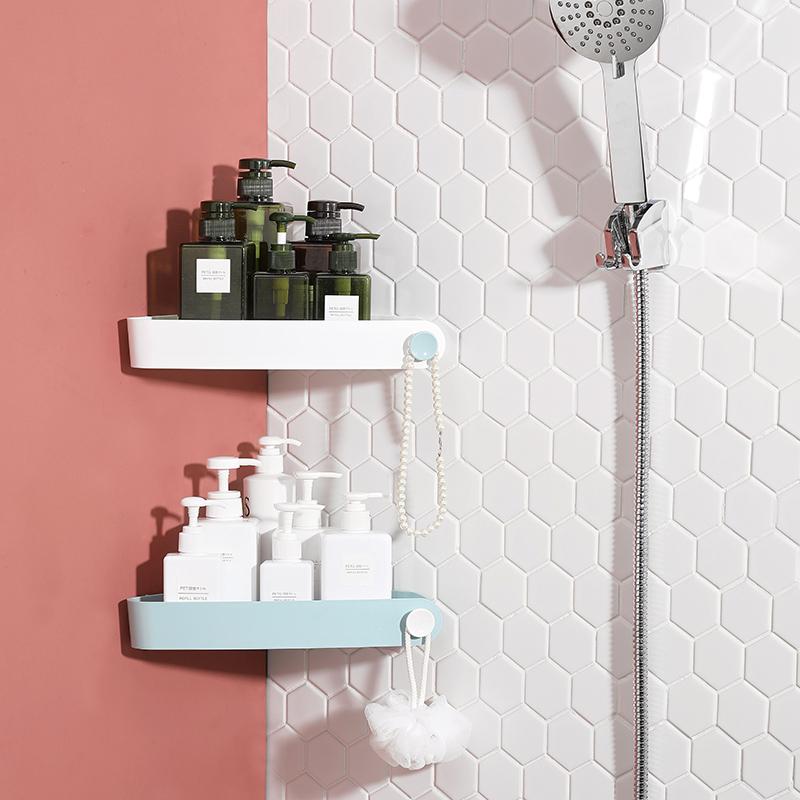 佳帮手浴室置物架卫生间壁挂式免打孔三角架洗澡转角洗漱台收纳架 27.9元