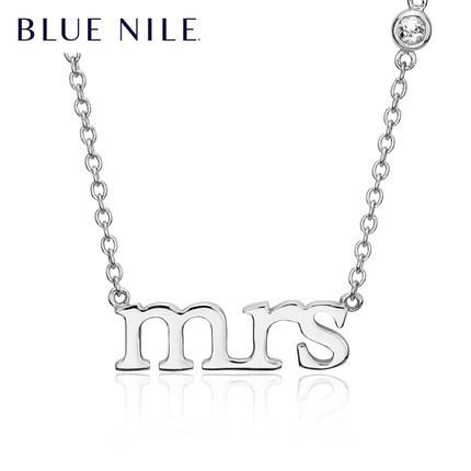 双11预告: Blue Nile 字母Mrs.白色托帕石项链 925银 整点1元秒杀