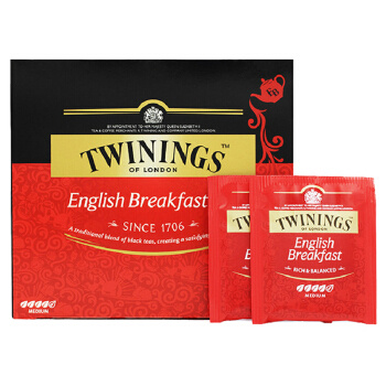 京东PLUS会员:TWININGS 川宁 早餐经典红茶茶包 100g(50包) *2件 58元(下单立减) ¥58