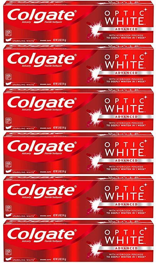 Colgate Optic White *牙膏,闪闪发光薄荷 - 5 盎司(6 只装) 112.89元