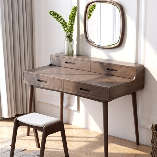 贝坦达 日式白蜡木化妆桌带镜 梳妆台+妆凳 800元包邮