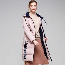 暖频道 女士中长款 白鸭绒羽绒服 收腰显瘦设计 199元包邮 断码好价